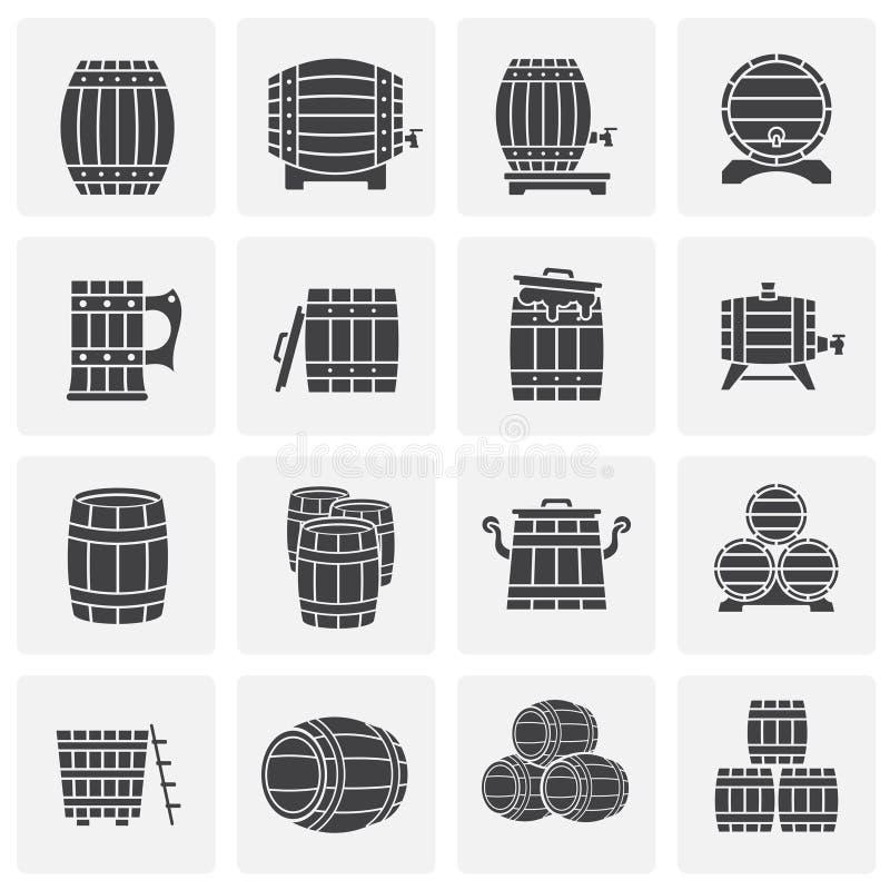 Icônes de baril réglées sur le fond pour le graphique et la conception web Illustration simple Symbole de concept d'Internet pour illustration stock