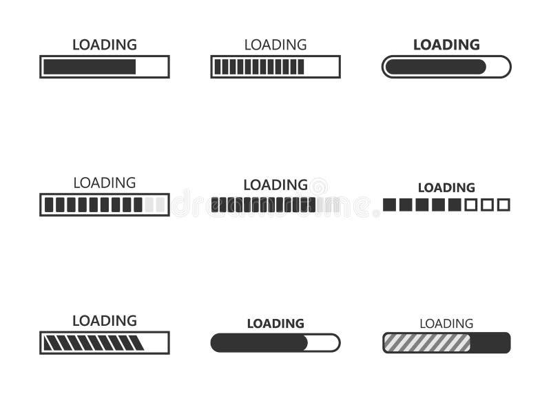 Icônes de barre de chargement illustration libre de droits