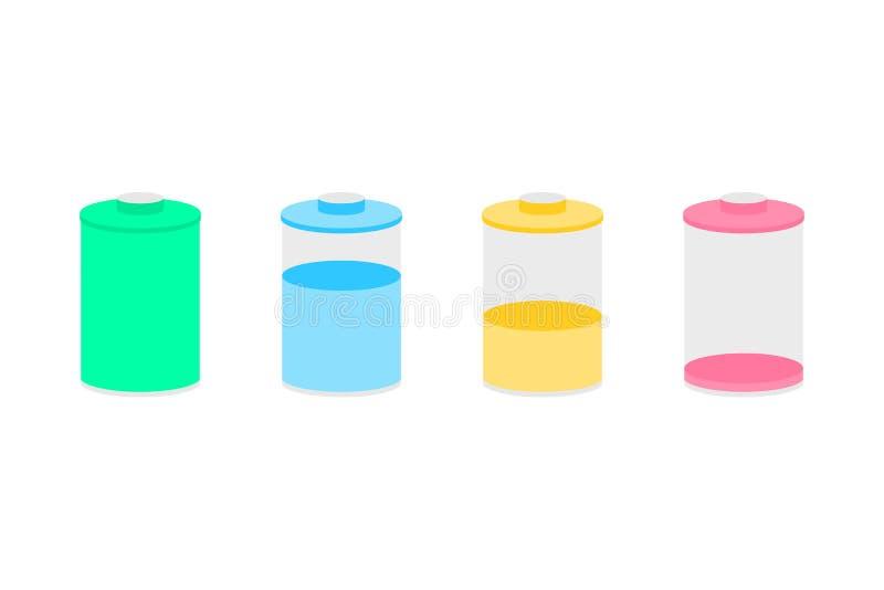 Icônes de batterie réglées pour la conception illustration stock