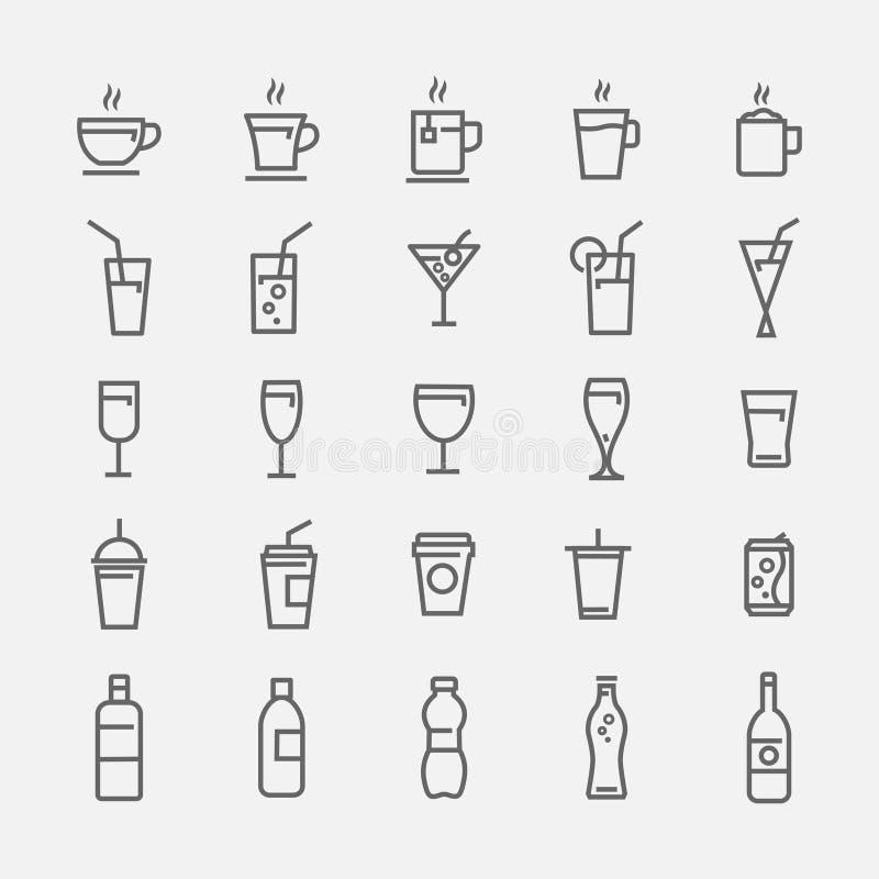 Icônes de boissons sur le fond gris illustration libre de droits