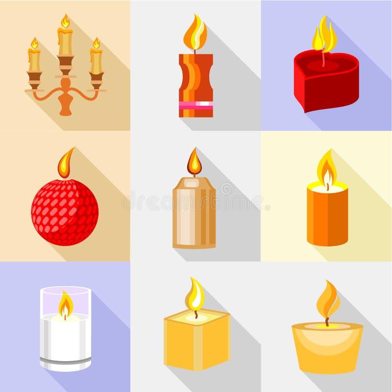 Icônes de bougie du feu réglées, style de bande dessinée illustration stock