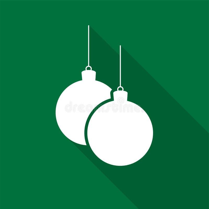 Icônes de boules de Noël blanc sur une ficelle avec la longue ombre sur le fond vert illustration de vecteur