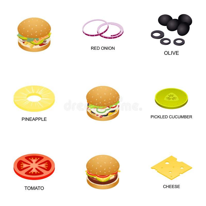 Icônes de boulette de viande réglées, style isométrique illustration de vecteur