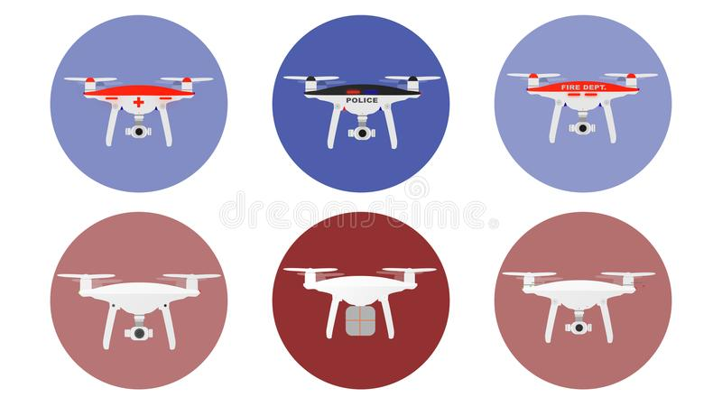Icônes de bourdons avec les avions téléguidés de la police de but, du médecin, du feu, de la livraison différents etc. Illustrati illustration stock