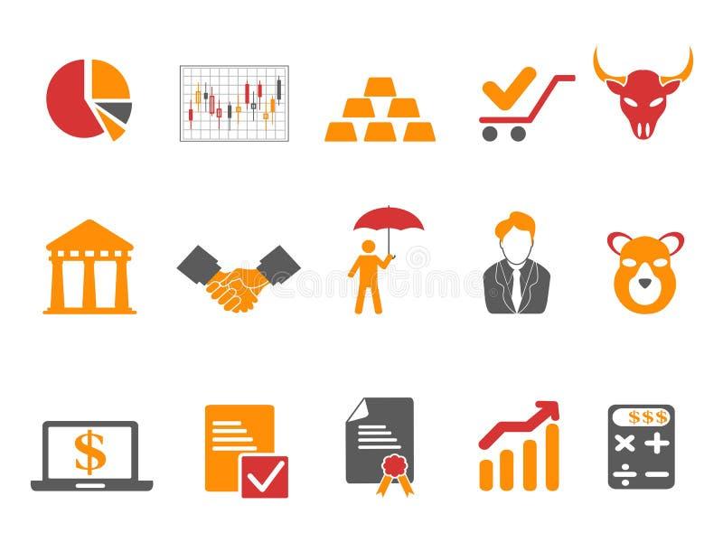 Icônes de bourse des valeurs de couleur orange et rouge réglées illustration de vecteur