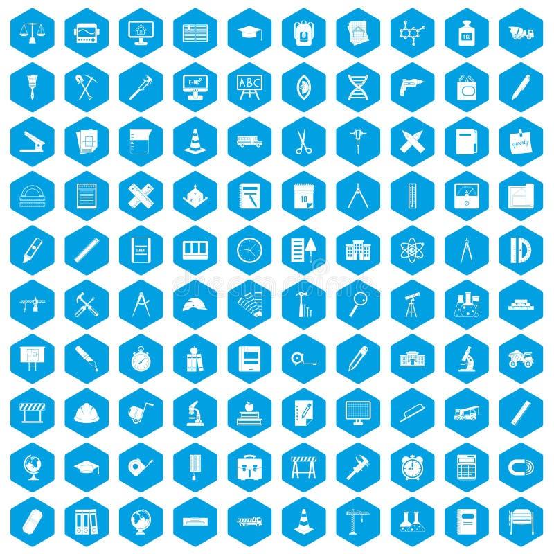 100 icônes de boussole réglées bleues illustration libre de droits