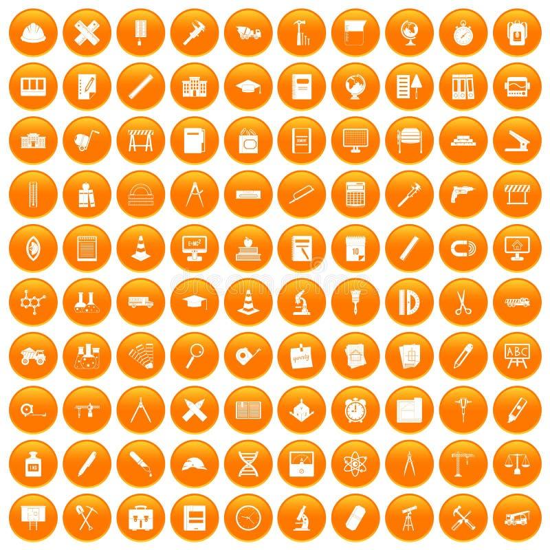 100 icônes de boussole réglées oranges illustration libre de droits