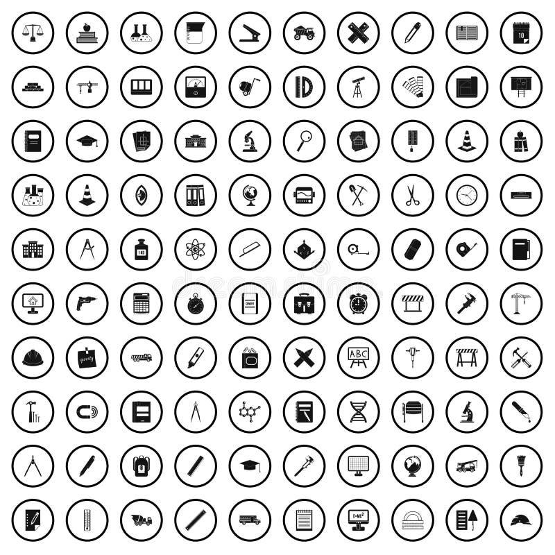 100 icônes de boussole réglées, style simple illustration stock