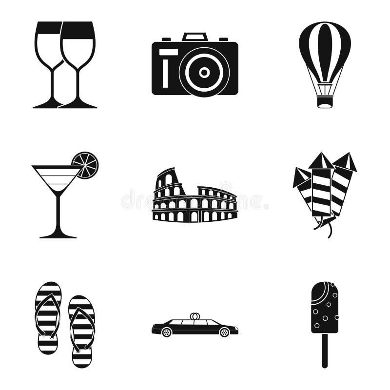 Icônes de cérémonie de mariage réglées, style simple illustration libre de droits