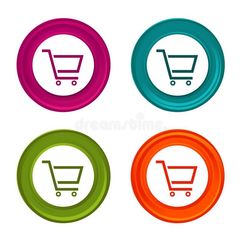 Icônes de caddie Signes de vente Symbole d'achats Bouton coloré de Web avec l'icône illustration stock