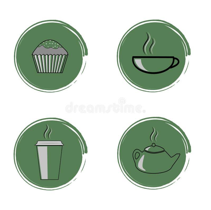 Icônes de café, petit gâteau, thé Conception plate Illustration de vecteur illustration libre de droits
