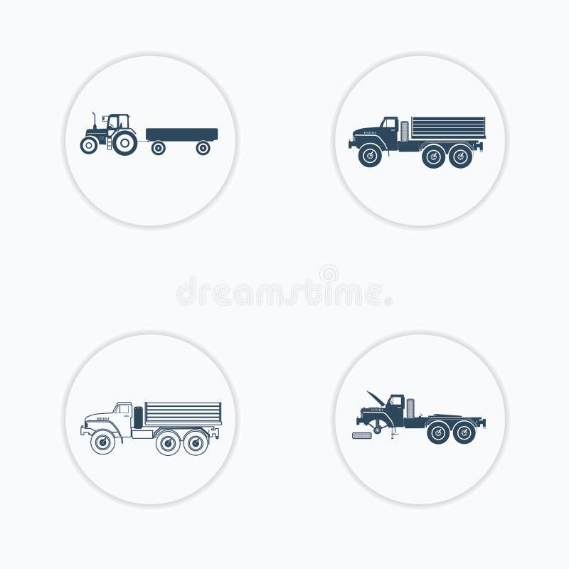 Icônes de camion réglées avec et sans la remorque illustration libre de droits