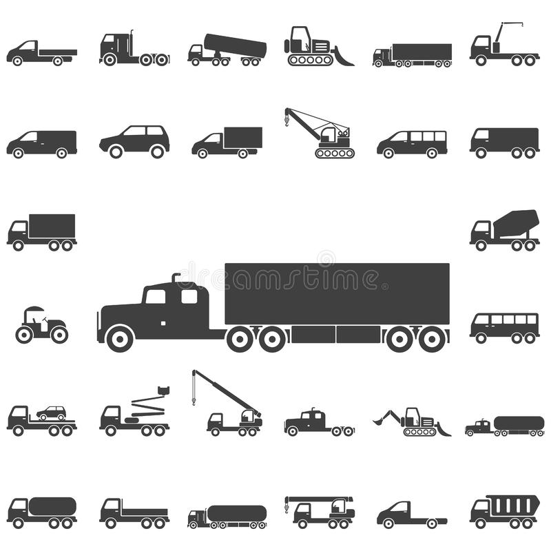 Icônes de camion sur le fond blanc illustration libre de droits