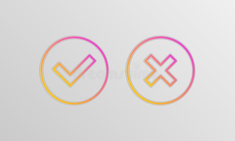 Icônes de case à cocher illustration stock
