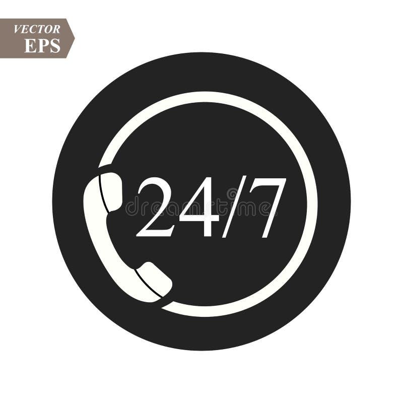 24 icônes de centre d'appels de soutien d'heure Services disponibles réguliers Vingt-quatre heures de quotidien Peut employer pou illustration stock