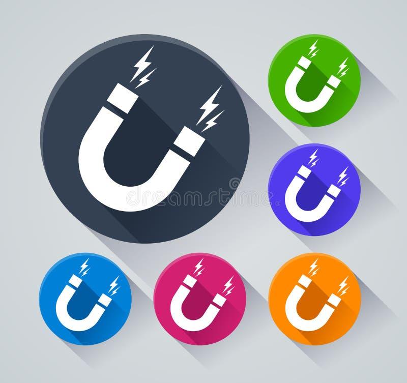 Icônes de cercle de magnétisme avec l'ombre illustration libre de droits