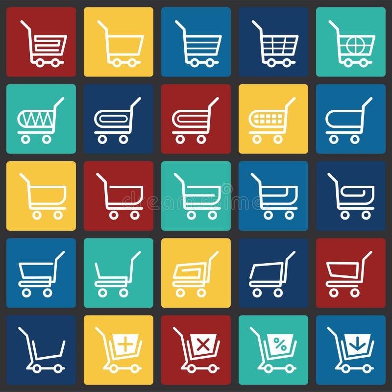 Icônes de chariot de magasin réglées sur le fond de places de couleur pour le graphique et la conception web Signe simple de vect illustration de vecteur