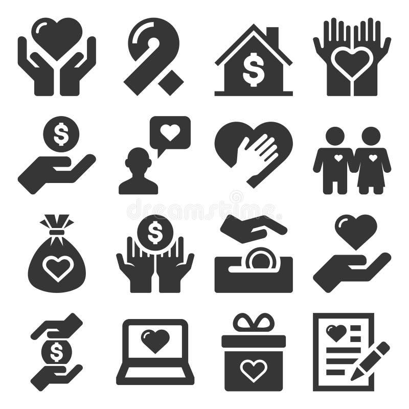 Icônes de charité et de donation réglées sur le fond blanc Vecteur illustration de vecteur