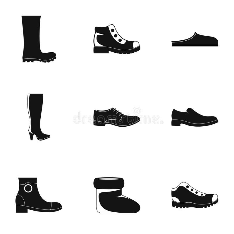 Icônes de chaussures réglées, style simple illustration libre de droits