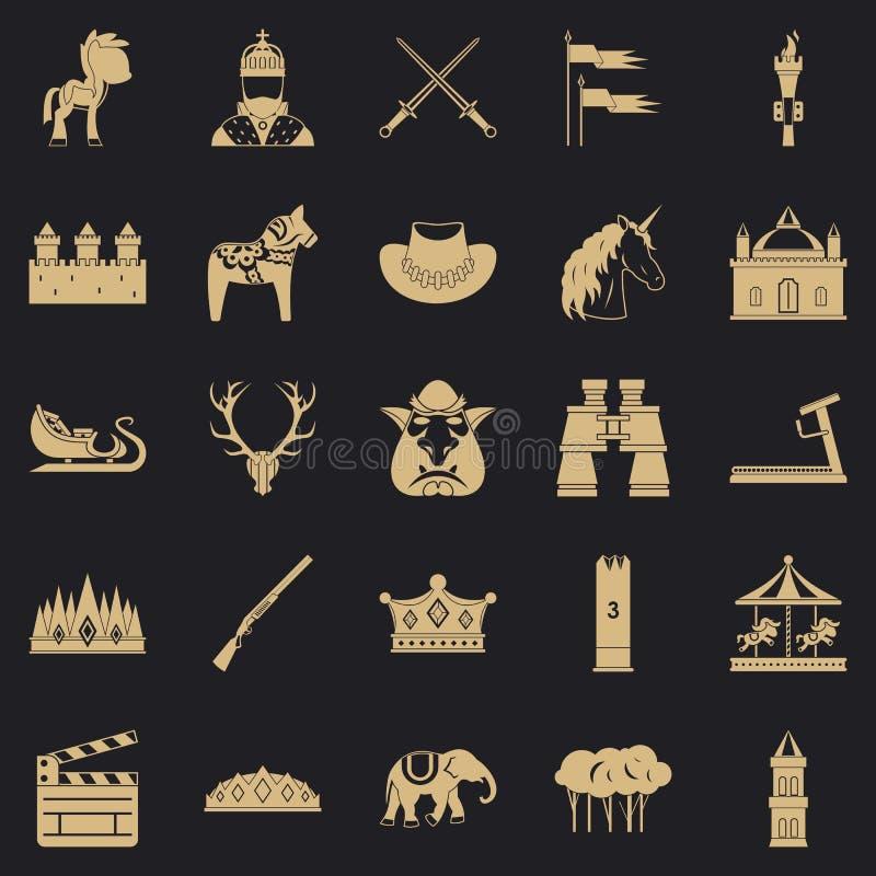 Icônes de cheval réglées, style simple illustration stock
