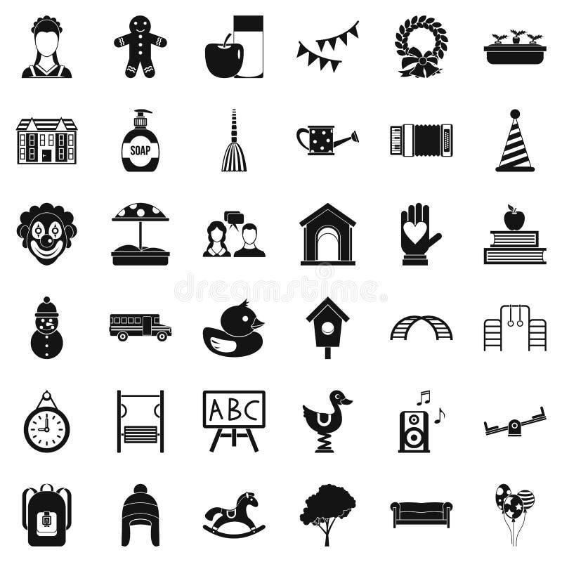 Icônes de Childcare réglées, style simple illustration stock