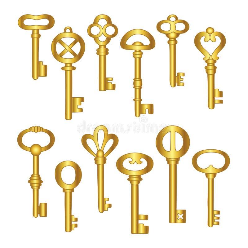 Icônes de clés réglées, d'isolement L'or verrouille les signes et la collection de symboles Le verrouillage et ouvrir du vintage  images libres de droits