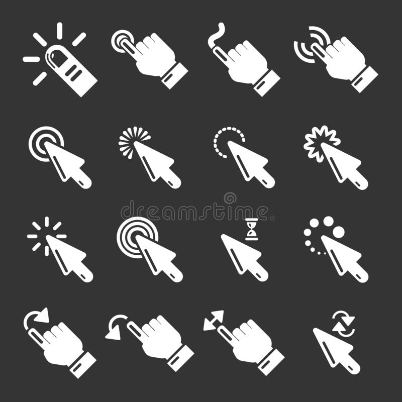 Icônes de clic de main réglées grises illustration de vecteur