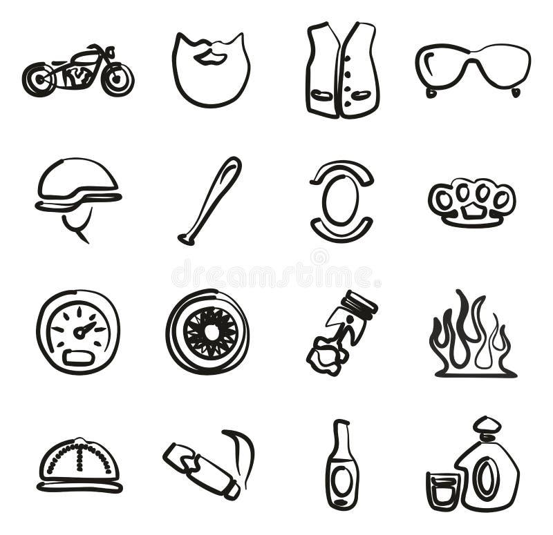 Icônes de club de moto à main levée illustration libre de droits