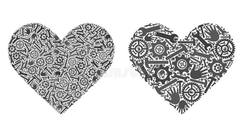 Icônes de coeur d'amour de mosaïque des outils de réparation illustration libre de droits