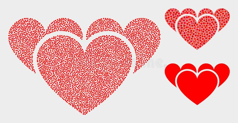 Icônes de coeurs d'amour de vecteur de pixel illustration libre de droits