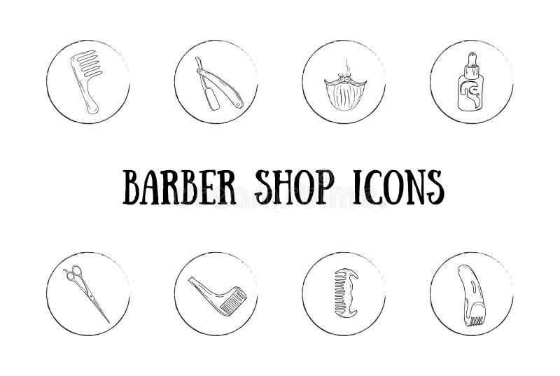 Icônes de coiffeur illustration de vecteur