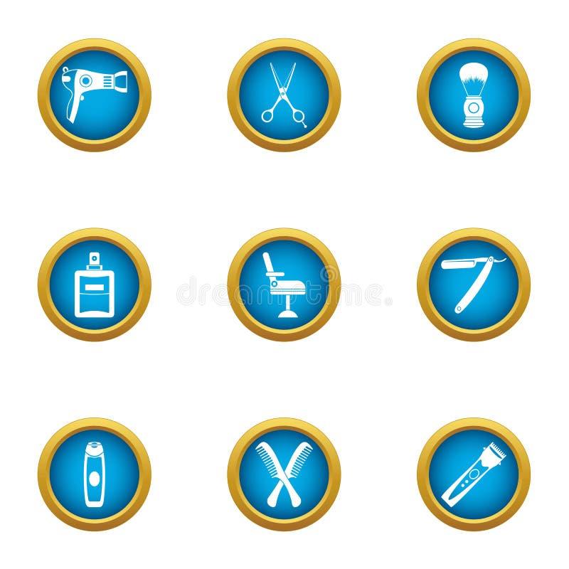 Icônes de Coiffeur réglées, style plat illustration stock