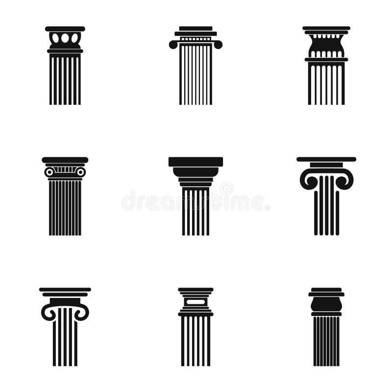 Icônes de colonne réglées, style simple illustration de vecteur