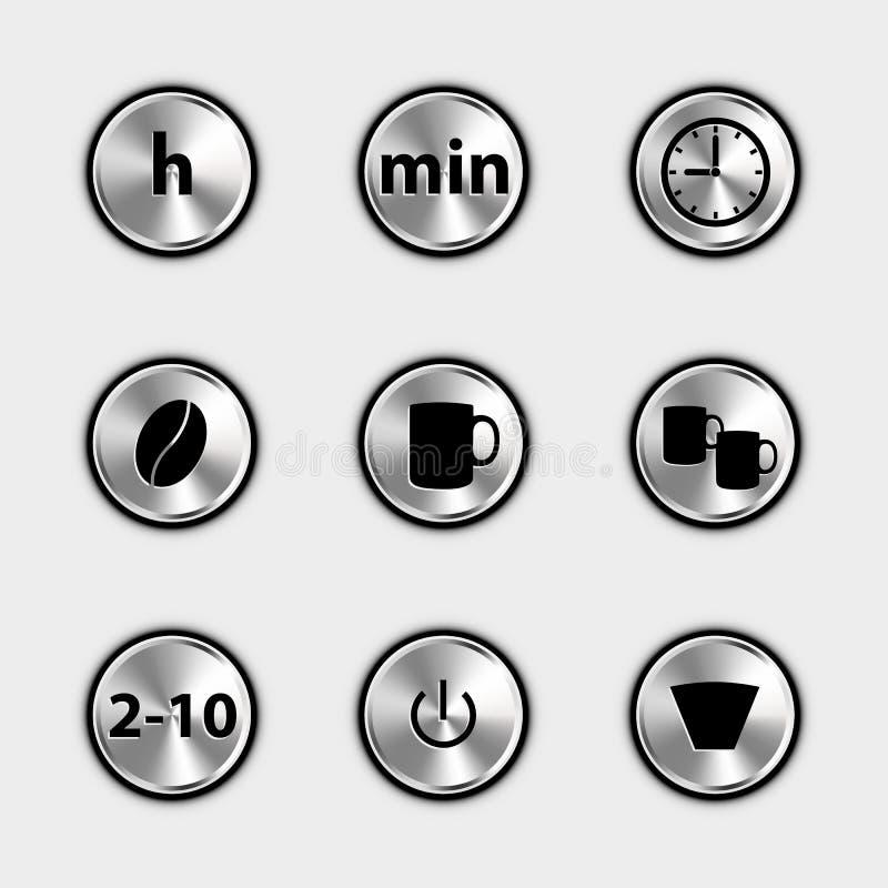 Icônes de commande numérique de café - illustrations métalliques de vecteur - d'isolement sur le fond blanc illustration libre de droits