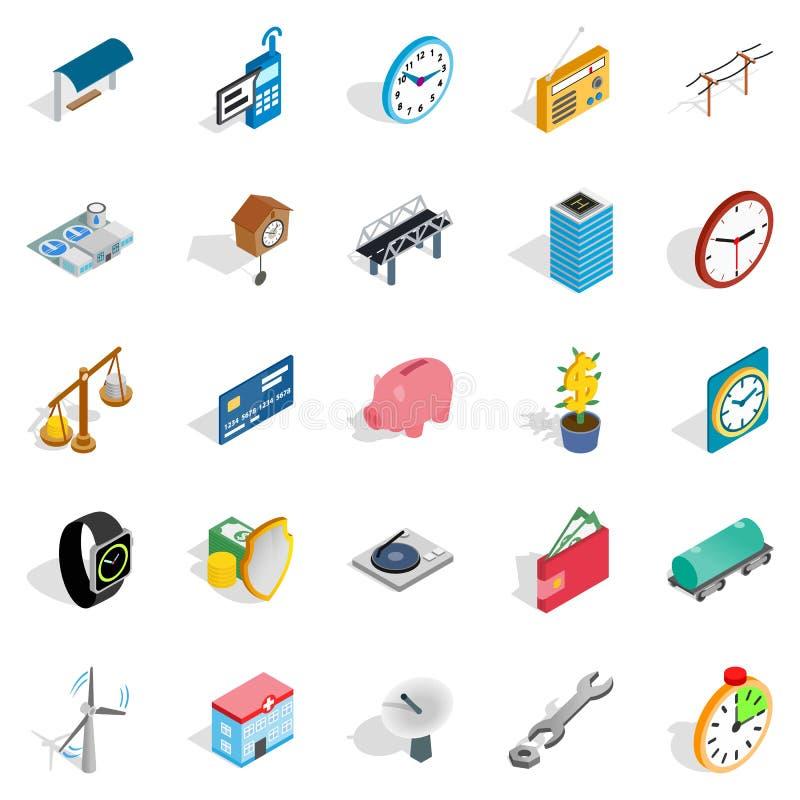 Icônes de communication de difficulté réglées, style isométrique illustration stock