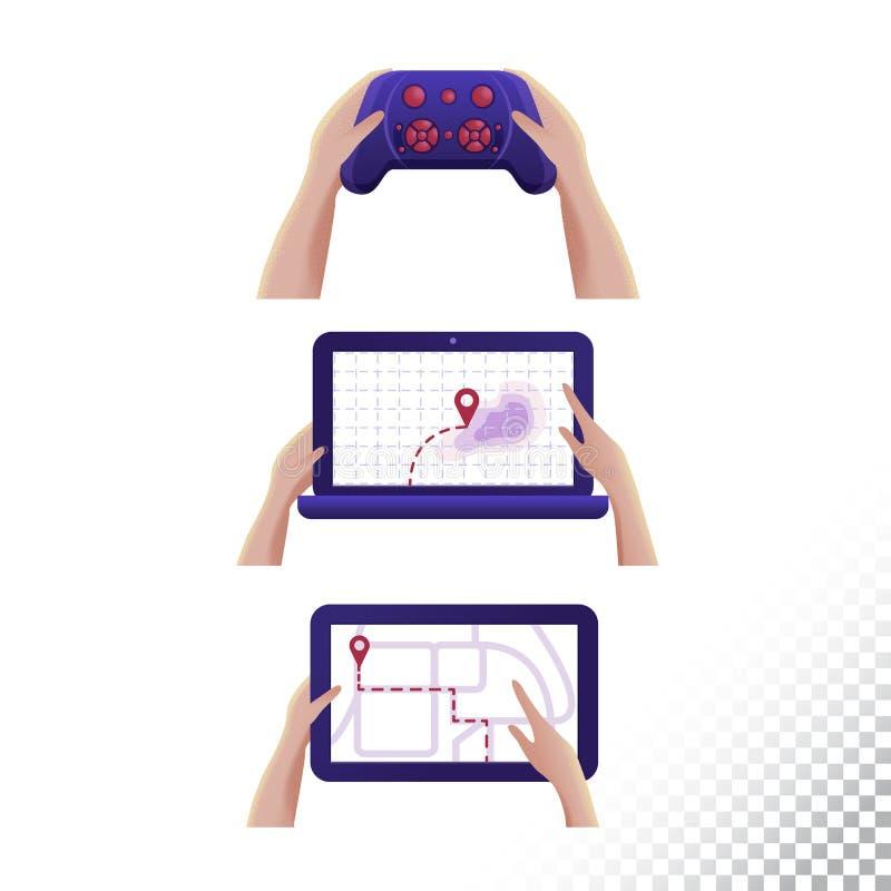 Icônes de comprimé, d'ordinateur portable et de bourdon de manette de Digigtal Objets de Digital dans les mains Illustration de v illustration libre de droits