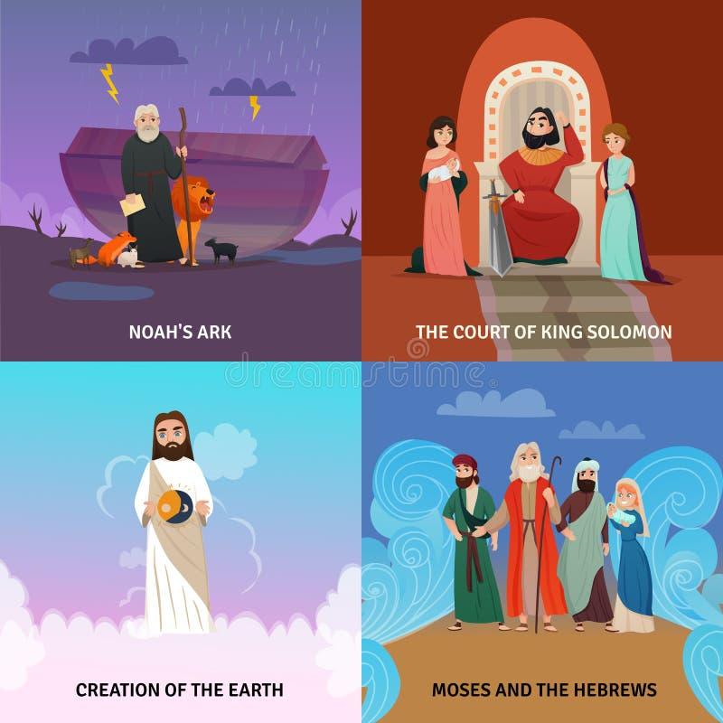 Icônes de concept d'histoire de bible réglées illustration stock
