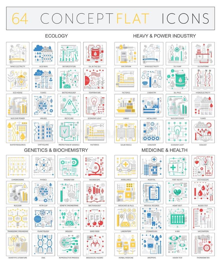 Icônes de concept d'Infographics de l'écologie, technologie lourde de puissance, biochimie de la génétique, icônes de santé de mé illustration de vecteur