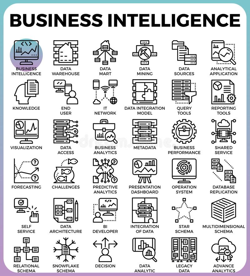 Icônes de concept d'intelligenceBI d'affaires illustration stock