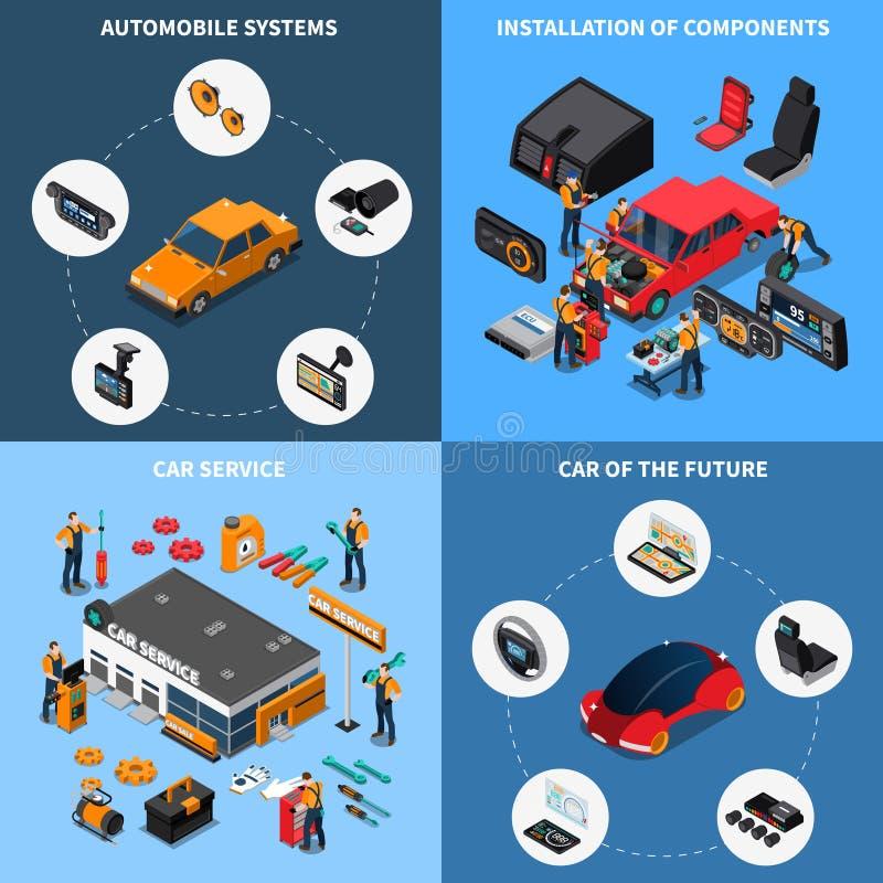 Icônes de concept de l'électronique de voiture réglées illustration stock