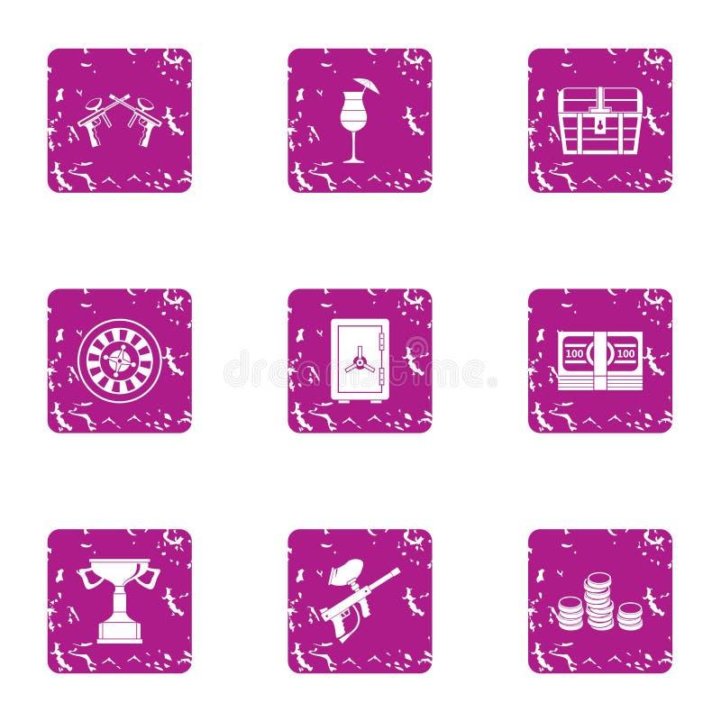 Icônes de concurrence de Paintball réglées, style grunge illustration stock