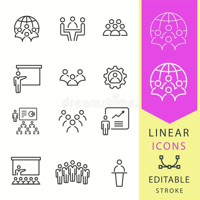 Icônes de conférence réglées Illustration noire de vecteur Course Editable illustration libre de droits