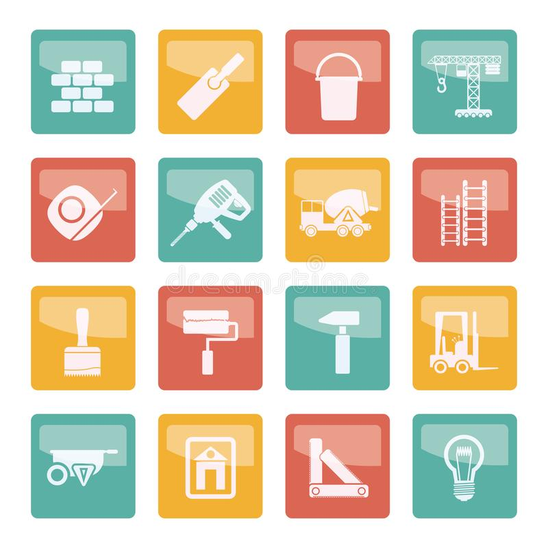 Icônes de construction et de bâtiment au-dessus de fond coloré illustration libre de droits
