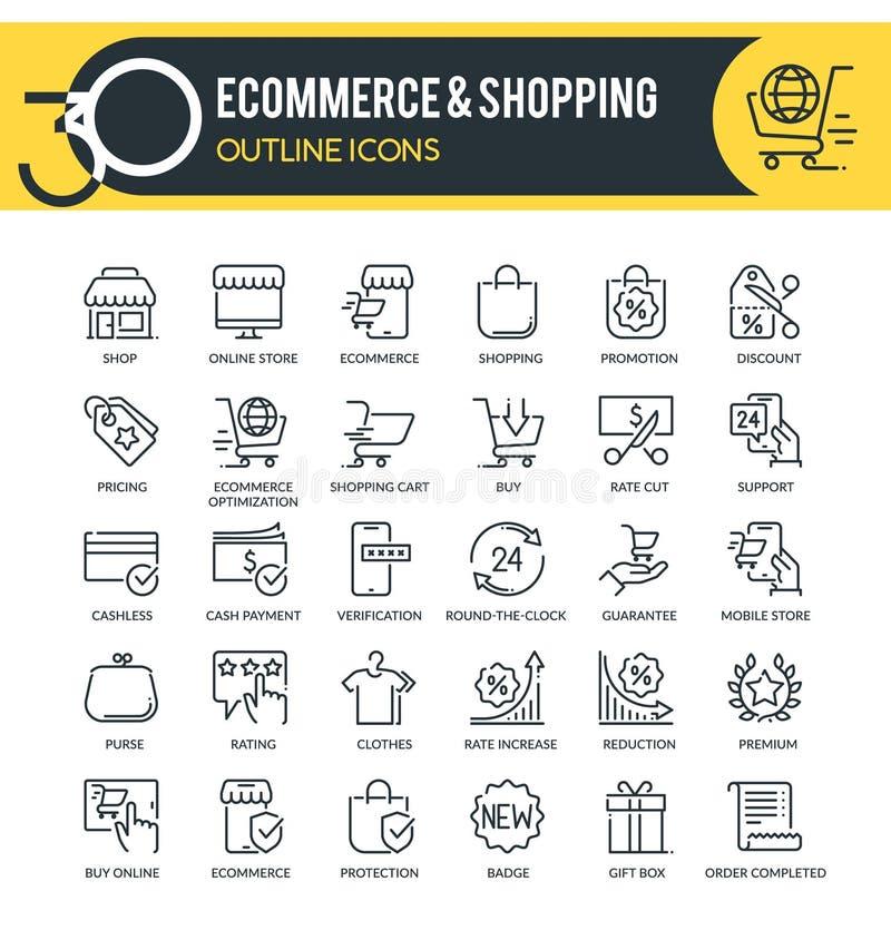 Icônes de contour d'e-commerce photo libre de droits