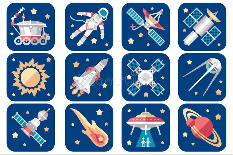Icônes de cosmos réglées Vaisseaux spatiaux de bande dessinée, soucoupes étrangères, astronaute, satellites en baisse de comète,  illustration libre de droits