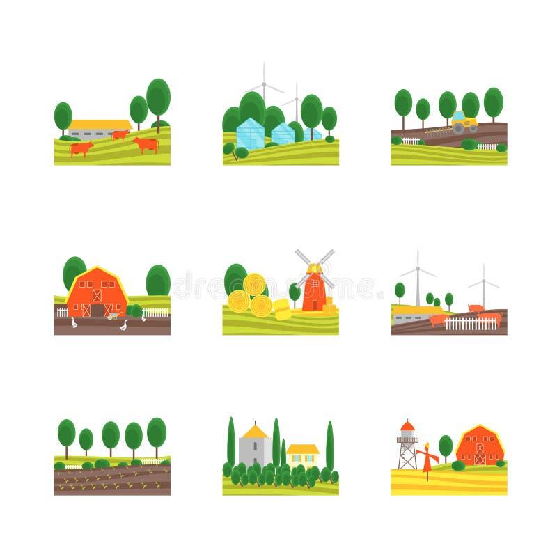 Icônes de couleur de ferme d'Eco de bande dessinée réglées Vecteur illustration libre de droits