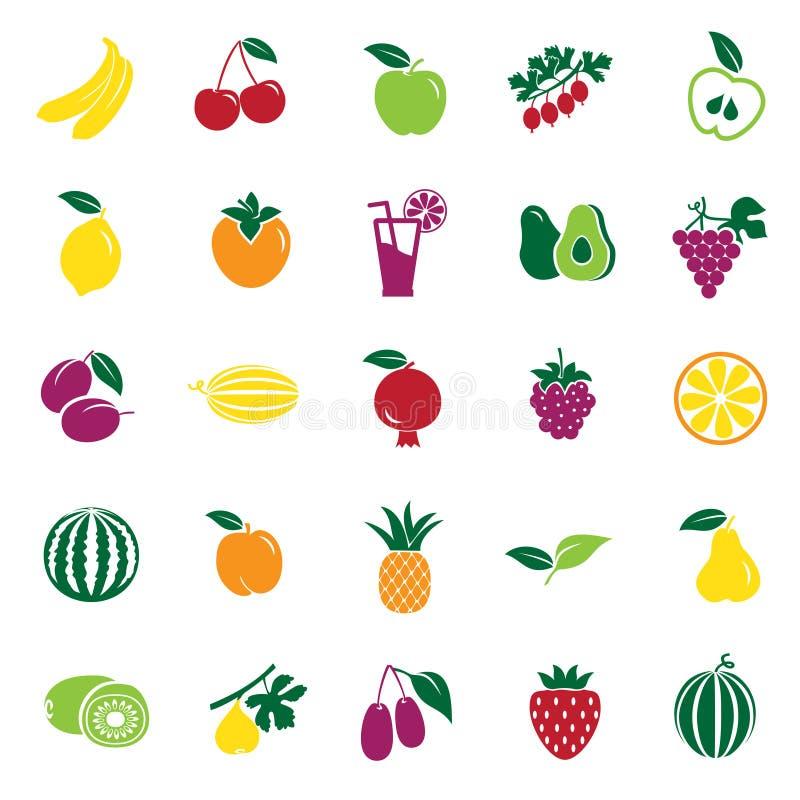 Icônes de couleur de Frui réglées sur le fond blanc pour le graphique et la conception web, signe simple moderne de vecteur Inter illustration stock