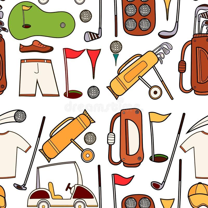 Icônes de couleur de golf réglées dans le style de bande dessinée illustration libre de droits