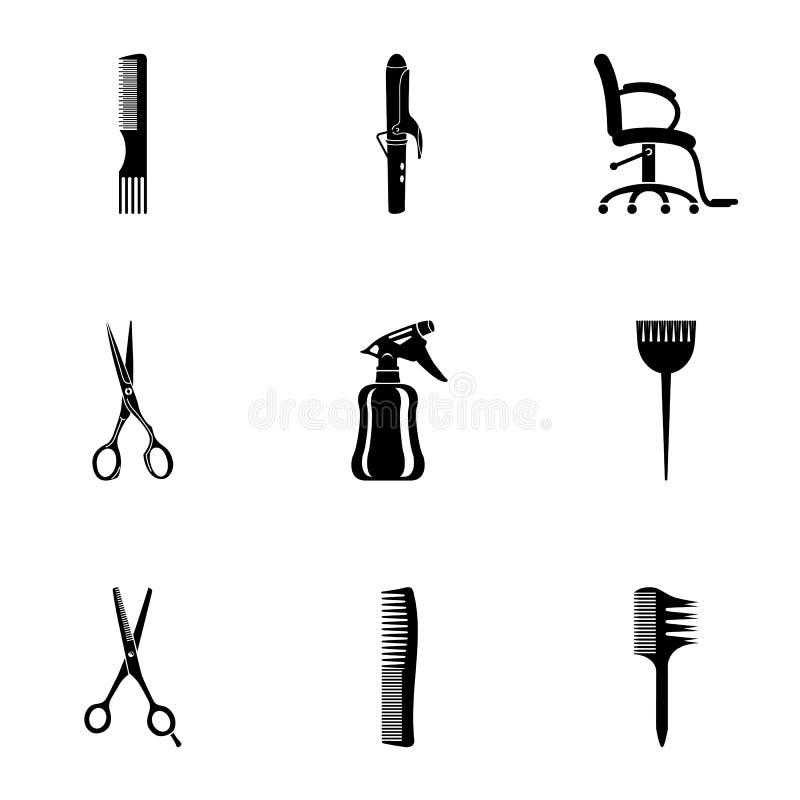 Icônes de coupe de cheveux réglées, style simple illustration libre de droits