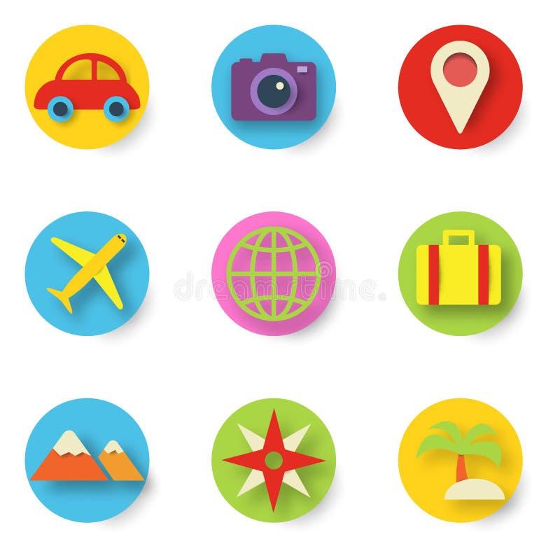Icônes de coupe de papier de voyage illustration libre de droits